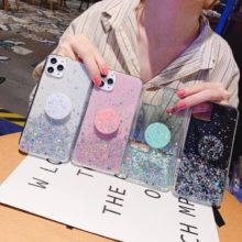 Luxury Cute Glitter Star Ring Holder Silicone Bracket Soft Case For Samsung M Series and A Series