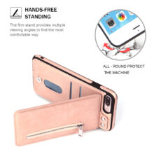 Fashion zipper Leather Phone Case Wallet Cover for iPhone
